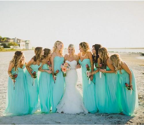 Платья подружкам невесты мятного цвета