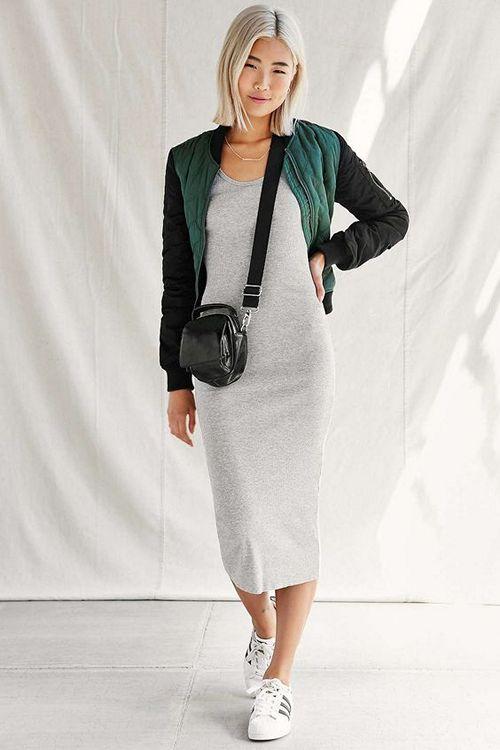d5079d01970 С чем носить трикотажное или вязаное платье лапша  18 фото образов