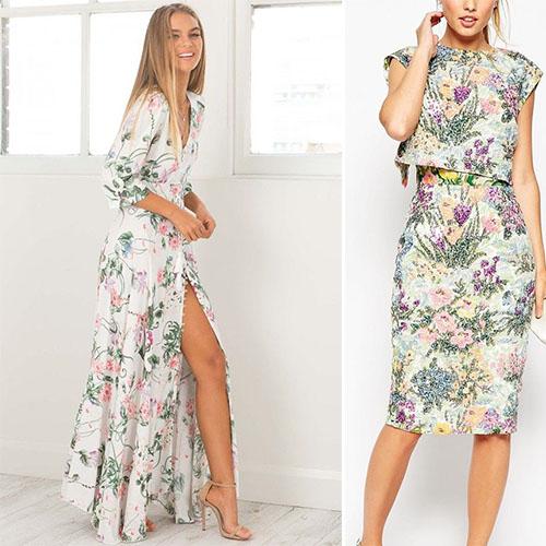 Платье в крупный цветок с чем носить